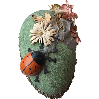 Vintage 1920's-30's Easter Egg Candy Container with Ladybug and Flowers...All original!