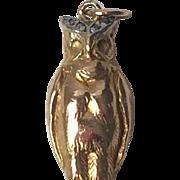 c.1900's Edwardian Era 18k Gold Platinum and Diamond Owl Pendant Charm