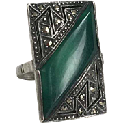 Stunning Art Deco Chrysoprase and Marcasite Ring in Sterling Silver Germany