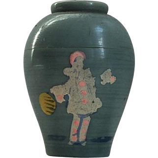"""1930's Art Deco French Plastic Solid Perfume Pot by """"Bag-Dab"""" Figural Bottle with Pierrot"""