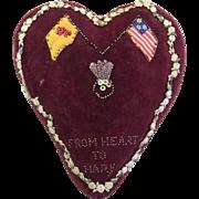 c.1880's Victorian Folk Art Large Valentine Heart Pillow Pincushion Scottish and American Flags