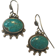 Gorgeous Estate Sterling Silver Turquoise Drop Earrings Heavy and Well Made...Perfect