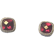 Estate 14k White Gold Filigree Rhodolite Garnet Stud Earrings