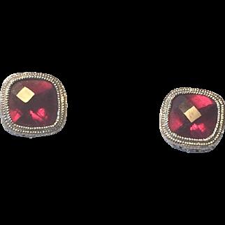Estate 14k White Gold Filigree Rhodolite Garnet Stud Earrings