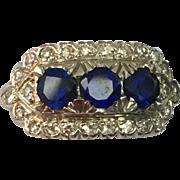 Art Deco Platinum and Diamond Synthetic Sapphire Ring