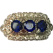 Art Deco Platinum and Diamond Synthetic Sapphire Ring
