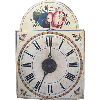 Beautiful 19th C. Antique Painted Wood Small Clock Dial Face All Original