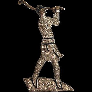 Art Deco German Ges Gesch Rhinestone Lady Flapper Golfer Pin