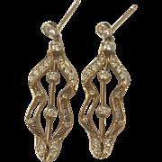 Antique Art Nouveau Era 14K and Diamond Gold Earrings