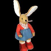 c.1940's German Felt Kersa Dressed Bunny Rabbit in Excellent Condition