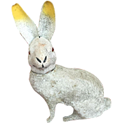 c.1900's German Glass Eyed Cardboard White Glittery Bunny Rabbit Candy Container