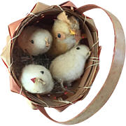 Vintage Japan Easter Cotton Bunting Chicks and Hen in Basket with Grass...Adorable!
