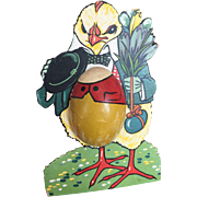Pressed Cardboard Vintage Chick Standing Egg Candy Container...Great Colors!