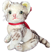 1950's Raised Script Button Steiff Tabby Cat...Wonderful Colors and Minty