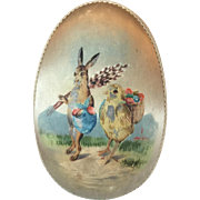 Victorian German Silk Covered Easter Egg Box with Brass Feet with Painted Bunny and Chick