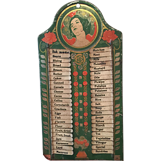 Vintage 1920's-1930's Tin Grocery List Sign with Art Nouveau Lady Detail