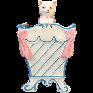 Antique Porcelain Cat Pot or Vase in Basket German or French...Divine!