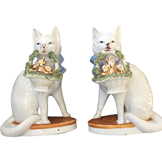Stunning Pair of Early Porcelain German Cats