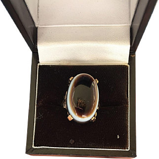 Fabulous Victorian 9ct Gold Banded Agate Ring 8 to 8 1/2