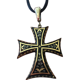 Victorian Gold and Silver Inlaid Pique Crusader Cross Pendant Necklace on Black Silk Cord