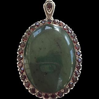 Gorgeous Estate Vintage Sterling Silver Massive Jade and Garnet Pendant