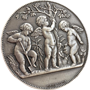 c.1932 White Bronze Heavy Medal or Medallion Award by Renowned French Artist Alphee Dubois depicting Three Putti Cherubs