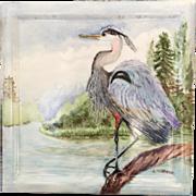 c.1900's Hand Painted Wheeling Ceramic Tile Aesthetic Bird Crane...Gorgeous