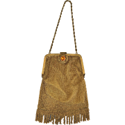 Art Deco Mesh Gold Toned Purse with Amber Colored Stone...Perfect!