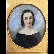 Antique Miniature Portrait of Beautiful Woman...Amazing Detail