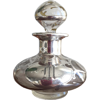 """Beautiful Edwardian Antique Sterling Silver Overlay Perfume Bottle Initialed """"M"""""""