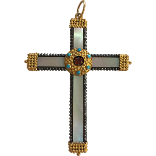 Victorian Gold Etruscan Style Cannetille and Sterling Mother or Pearl Cross Pendant Turquoise and Tourmaline