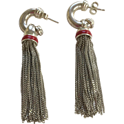 Gorgeous Estate Tiffany & Co. Sterling Silver and Red Enamel Long Earrings