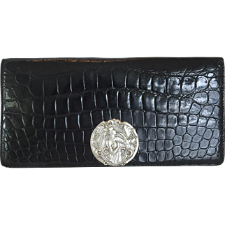 Vintage Black Alligator Clutch Type Purse with Lovely Silver Toned Medallion of Nouveau Woman