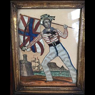 Antique Victorian Tinsel Portrait Collage Picture Mr T P Cook as Union Jack Circa 1850's