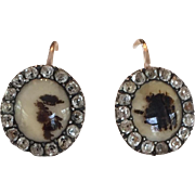 15k Rose Gold Antique Georgian Dendritic Agate and Paste Earrings
