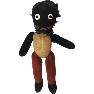"1930's English Chad Valley Velveteen Golly or Golliwogg 15"" Black Cloth Doll"
