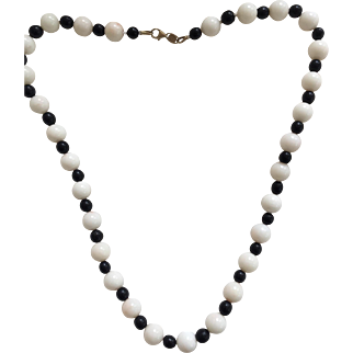 Stunning Estate Natural Black and White Coral 14K Italian Gold Necklace by Aurafin