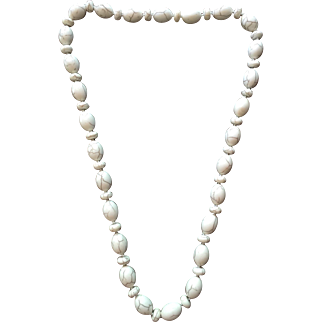 Gorgeous Heavy White Turquoise Beaded Necklace Hand Knotted and Beautiful