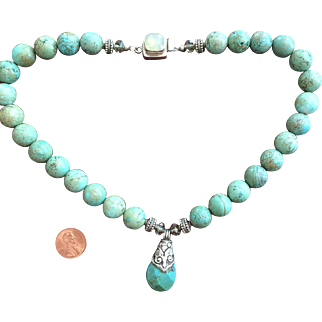 Exceptional High Quality Heavy Turquoise and Sterling Silver Necklace Artist Made