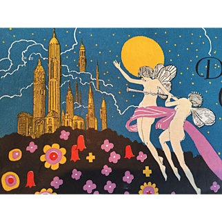1920's Art Deco Dream Castle Smith Candy Co. Box Featuring Fairies, Castle and Stars!