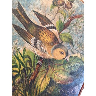 Exceptional c.1850's Antique Bellows with Exquisitely Painted Bird