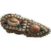 Antique Victorian Sailor's Valentine Shell Art Shoe Form Box...Charming!