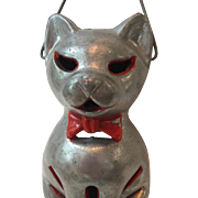 1950's Vintage Metal Halloween Cat Lantern with Handle