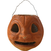 1940's Pressed Pulp Cardboard Halloween Candy Container Jack-o-Lantern Pumpkin