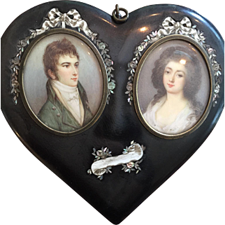 Early 19th c. Antique Double Portrait Miniature in Original Inlaid Heart Frame
