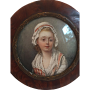 Antique Early 19th C. French Burl Wood Portrait Snuff Box of Young Girl