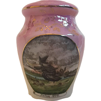 Antique Victorian German Porcelain Salem Witch Sugar Shaker Muffineer
