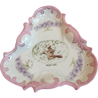 German Victorian China Salem Witch Pink Luster Trinket Dish