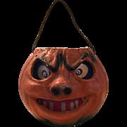 Vintage 1940's Cardboard Pulp Halloween Jack-O-Lantern Pumpkin Candy Container