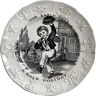 Early Antique Transferware Plate Heavily Embossed Scene with Boys Playing at School